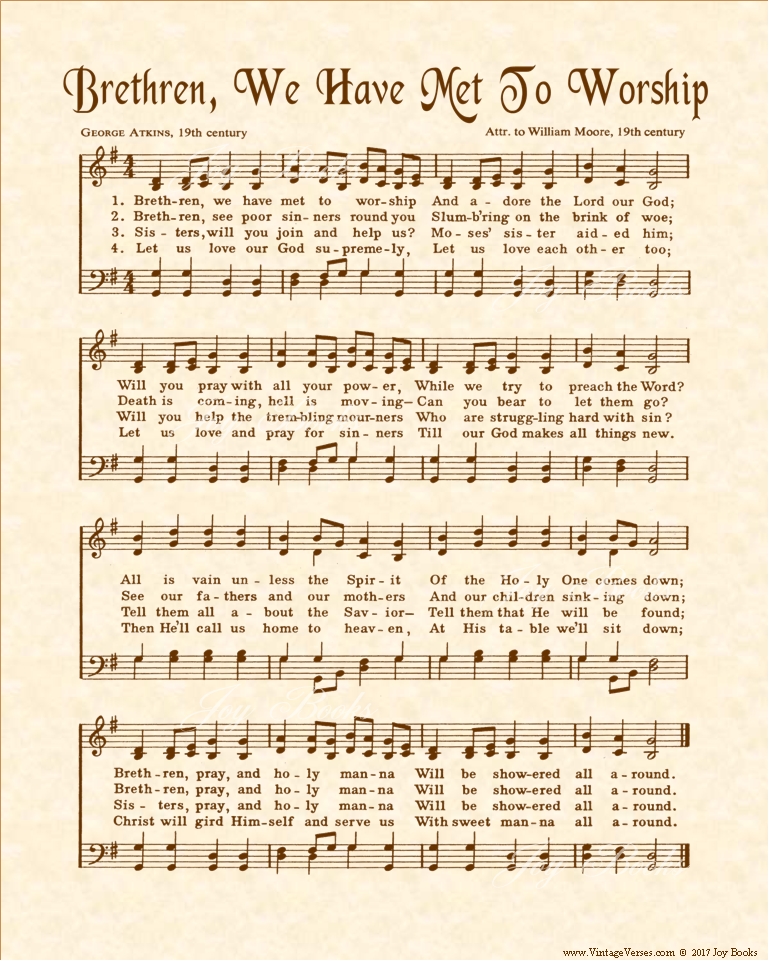 Brethren We Have Met To Worship - Christian Heritage Hymn, Sheet Music, Vintage Style, Natural Parchment, Sepia Brown Ink, 8x10 art print ready to frame, Vintage VersesPicture