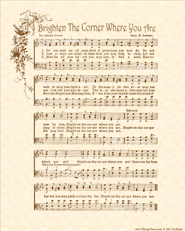 Brighten The Corner Where You Are - Christian Heritage Hymn, Sheet Music, Vintage Style, Natural Parchment, Sepia Brown Ink, 8x10 art print ready to frame, Vintage Verses