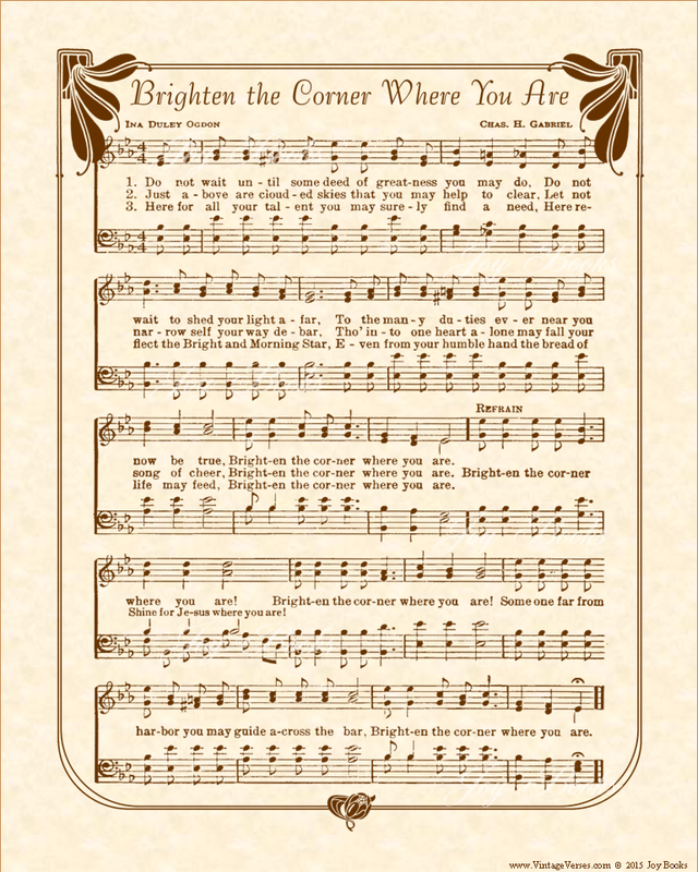 Brighten The Corner Where You Are - Christian Heritage Hymn, Sheet Music, Vintage Style, Natural Parchment, Sepia Brown Ink, 8x10 art print ready to frame, Vintage VersesPicture