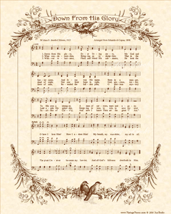 Down From His Glory - Christian Heritage Hymn, Sheet Music, Vintage Style, Natural Parchment, Sepia Brown Ink, 8x10 art print ready to frame, Vintage Verses