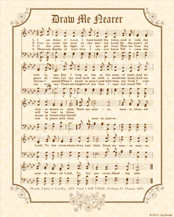 Draw Me Nearer A.K.A. I Am Thine O Lord - Christian Heritage Hymn, Sheet Music, Vintage Style, Natural Parchment, Sepia Brown Ink, 8x10 art print ready to frame, Vintage Verses