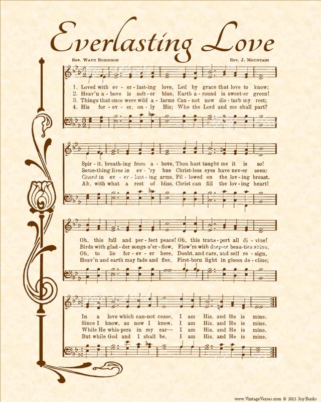 Everlasting Love a.k.a. I Am His And He Is Mine - Christian Heritage Hymn, Sheet Music, Vintage Style, Natural Parchment, Sepia Brown Ink, 8x10 art print ready to frame, Vintage Verses