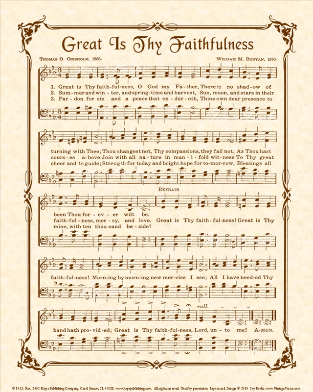 Great Is Thy Faithfulness Hymn Sheet Music