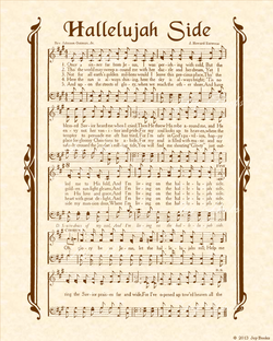 Hallelujah Side - Christian Heritage Hymn, Sheet Music, Vintage Style, Natural Parchment, Sepia Brown Ink, 8x10 art print ready to frame, Vintage Verses