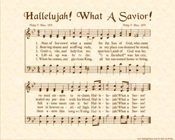 Hallelujah What A Savior - Christian Heritage Hymn, Sheet Music, Vintage Style, Natural Parchment, Sepia Brown Ink, 8x10 art print ready to frame, Vintage Verses