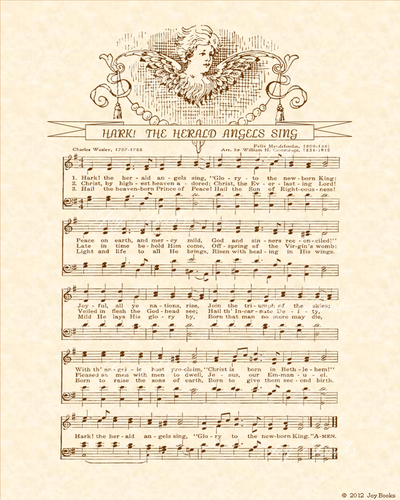 Hark! The Herald Angels Sing - Christian Heritage Hymn, Sheet Music, Vintage Style, Natural Parchment, Sepia Brown Ink, 8x10 art print ready to frame, Vintage Verses