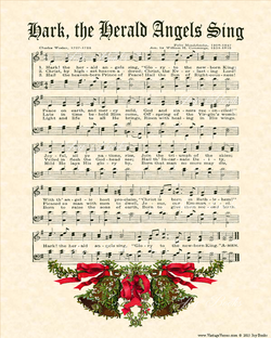 Hark! The Herald Angels Sing - Christian Heritage Hymn, Sheet Music, Vintage Style, Natural Parchment, Mistletoe Bells, Red and Green, Christmas Evergreen Ink, 8x10 art print ready to frame, Vintage Verses