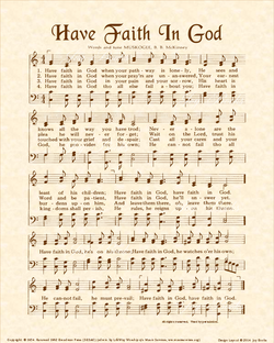 Have Faith In God - Christian Heritage Hymn, Sheet Music, Vintage Style, Natural Parchment, Sepia Brown Ink, 8x10 art print ready to frame, Vintage Verses