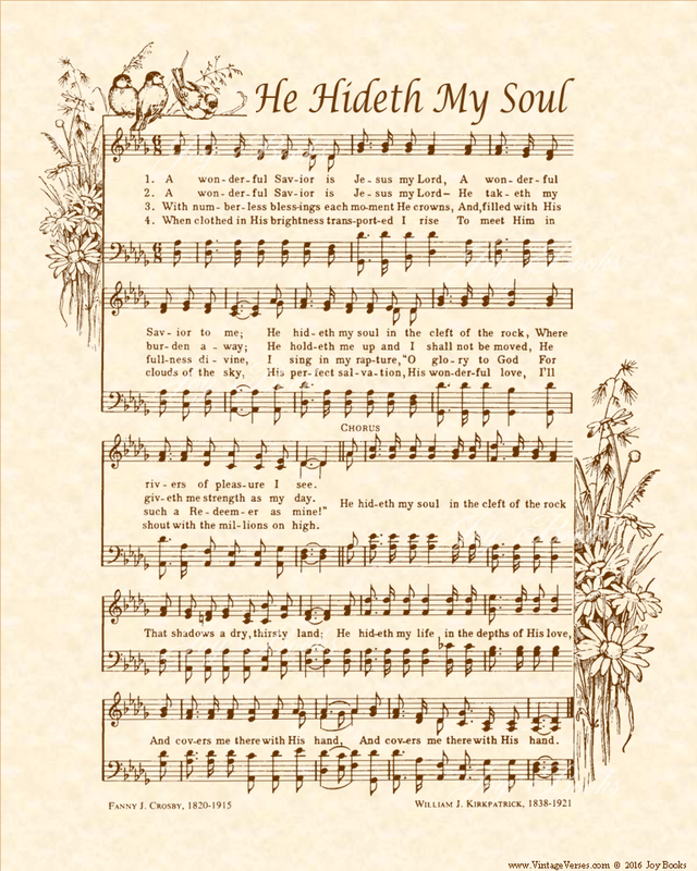He Hideth My Soul - Christian Heritage Hymn, Sheet Music, Vintage Style, Natural Parchment, Sepia Brown Ink, 8x10 art print ready to frame, Vintage Verses