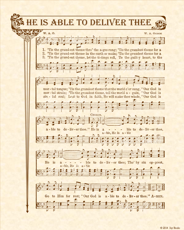 He Is Able To Deliver Thee - Christian Heritage Hymn, Sheet Music, Vintage Style, Natural Parchment, Sepia Brown Ink, 8x10 art print ready to frame, Vintage Verses