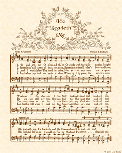 He Leadeth Me - Christian Heritage Hymn, Sheet Music, Vintage Style, Natural Parchment, Sepia Brown Ink, 8x10 art print ready to frame, Vintage Verses