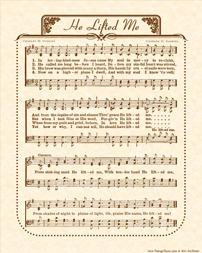 He Lifted Me - Christian Heritage Hymn, Sheet Music, Vintage Style, Natural Parchment, Sepia Brown Ink, 8x10 art print ready to frame, Vintage Verses