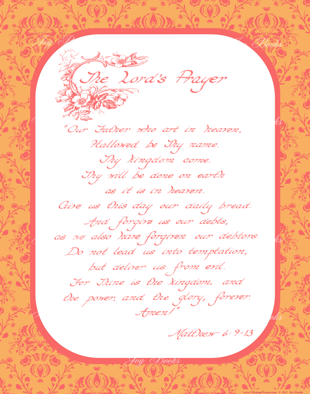 Matthew 6:9-13 The Lord's Prayer - Christian Home and Office Decor, Vintage Verses, Hand Written Calligraphy, Bible Verse Wall Art, Inspirational Quote Art, Tangerine Orange and Coral Pink, 11x14 art print ready to frame