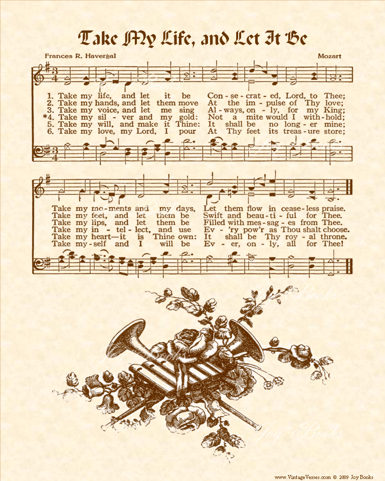 Take My Life And Let It Be - Christian Heritage Hymn, Sheet Music, Vintage Style, Natural Parchment, Sepia Brown Ink, 8x10 art print ready to frame, Vintage Verses