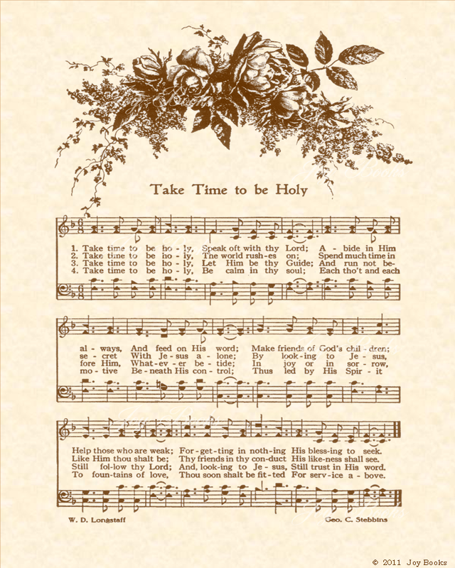Take Time To Be Holy - Christian Heritage Hymn, Sheet Music, Vintage Style, Natural Parchment, Sepia Brown Ink, 8x10 art print ready to frame, Vintage Verses