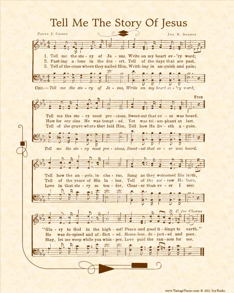 Tell Me The Story Of Jesus - Christian Heritage Hymn, Sheet Music, Vintage Style, Natural Parchment, Sepia Brown Ink, 8x10 art print ready to frame, Vintage Verses