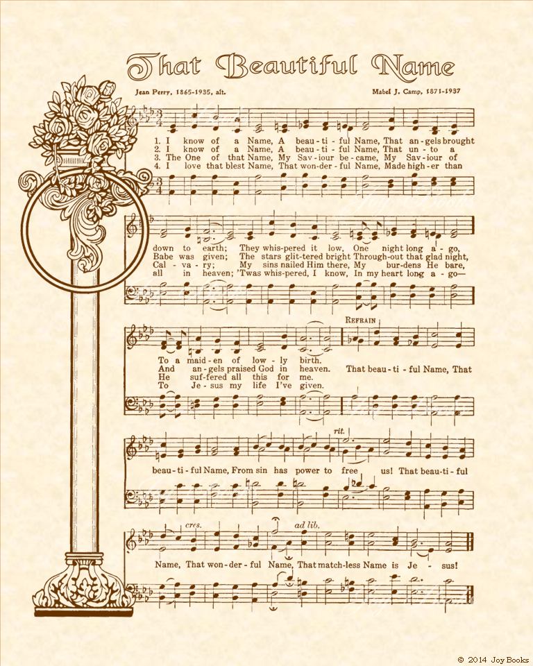 That Beautiful Name - Christian Heritage Hymn, Sheet Music, Vintage Style, Natural Parchment, Sepia Brown Ink, 8x10 art print ready to frame, Vintage Verses