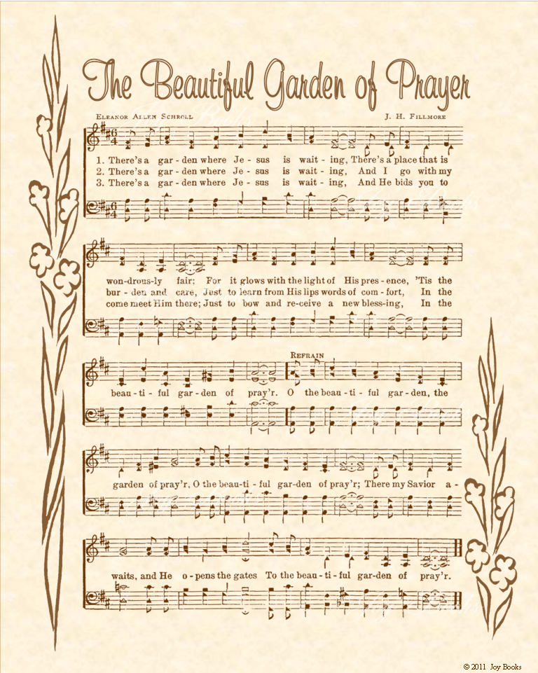 The Beautiful Garden Of Prayer - Christian Heritage Hymn, Sheet Music, Vintage Style, Natural Parchment, Sepia Brown Ink, 8x10 art print ready to frame, Vintage Verses