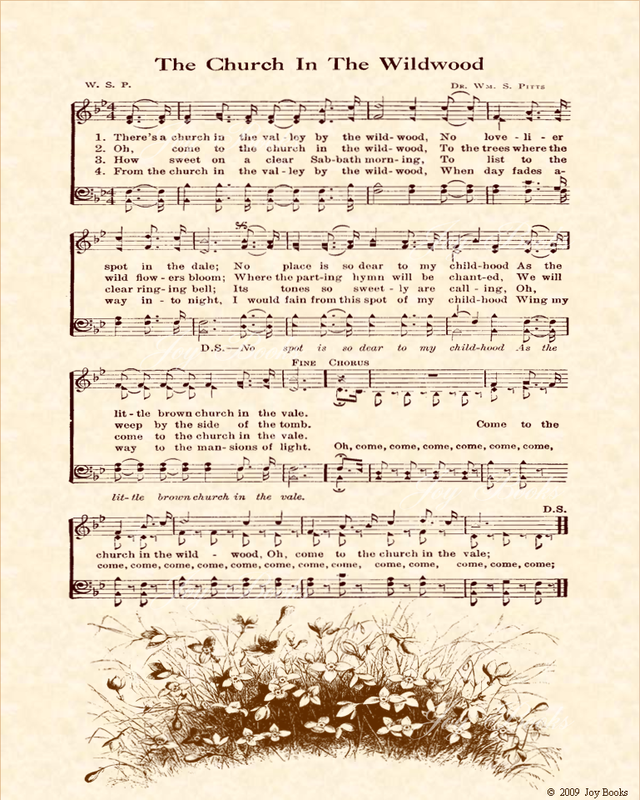 The Church In The Wildwood - Christian Heritage Hymn, Sheet Music, Vintage Style, Natural Parchment, Sepia Brown Ink, 8x10 art print ready to frame, Vintage Verses