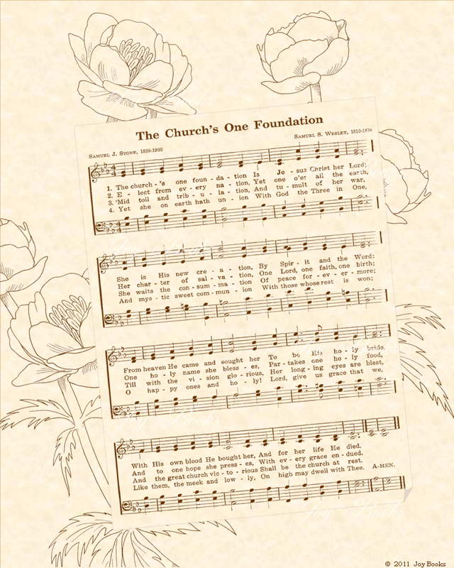 The Churchs One Foundation - Christian Heritage Hymn, Sheet Music, Vintage Style, Natural Parchment, Sepia Brown Ink, 8x10 art print ready to frame, Vintage Verses