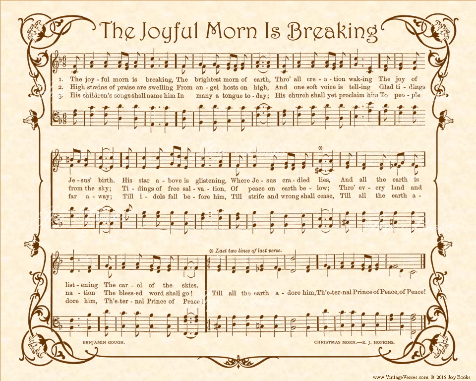 The Joyful Morn Is Breaking - Christian Heritage Hymn, Sheet Music, Vintage Style, Natural Parchment, Sepia Brown Ink, 8x10 art print ready to frame, Vintage Verses