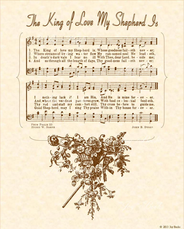 The King Of Love My Shepherd Is - Christian Heritage Hymn, Sheet Music, Vintage Style, Natural Parchment, Sepia Brown Ink, 8x10 art print ready to frame, Vintage Verses