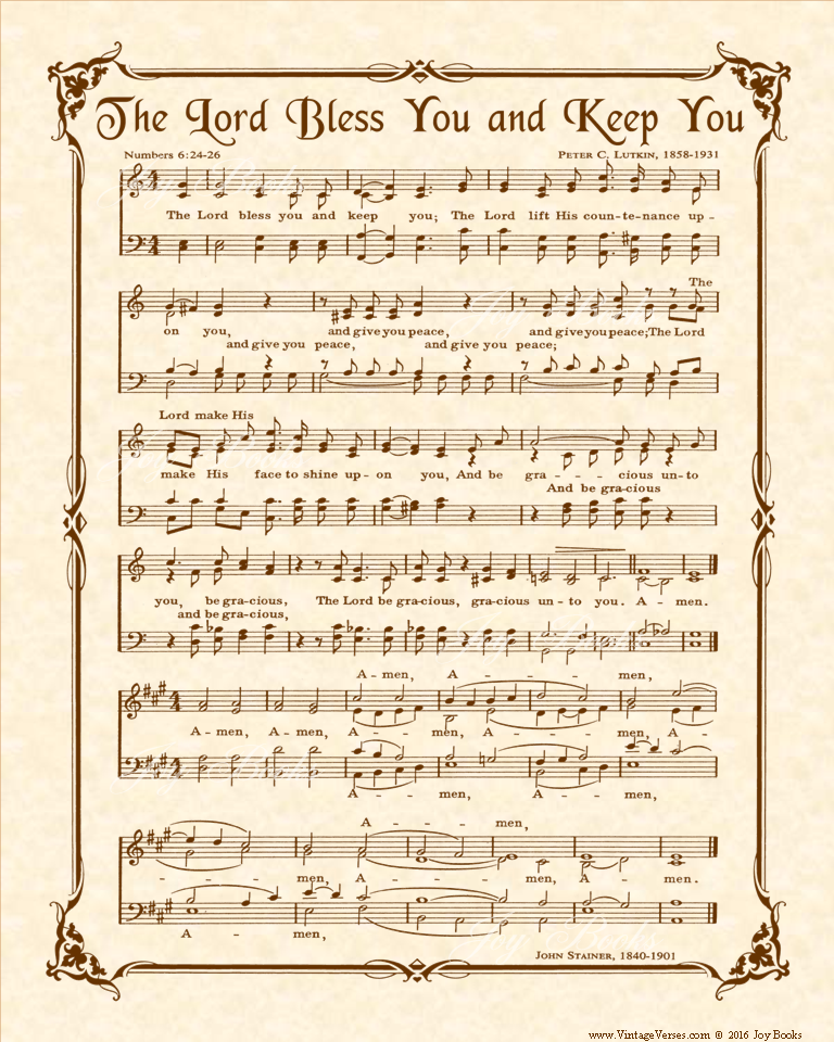The Lord Bless You And Keep You - Christian Heritage Hymn, Sheet Music, Vintage Style, Natural Parchment, Sepia Brown Ink, 8x10 art print ready to frame, Vintage Verses