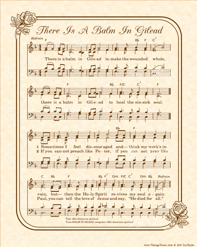 There Is A Balm In Gilead - Christian Heritage Hymn, Sheet Music, Vintage Style, Natural Parchment, Sepia Brown Ink, 8x10 art print ready to frame, Vintage Verses