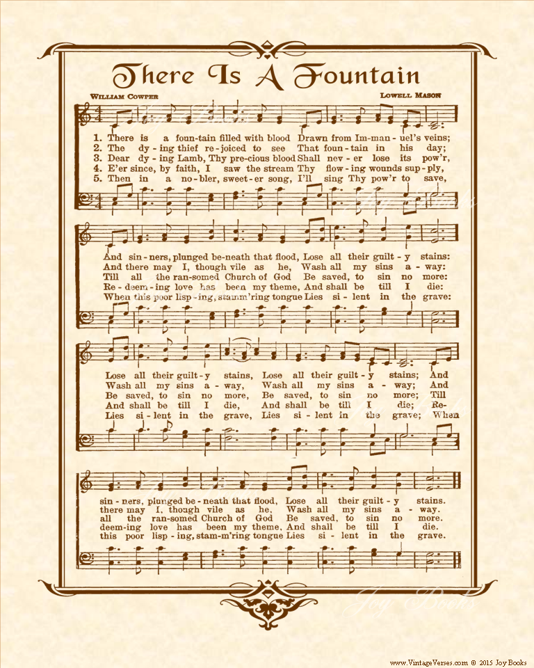 There Is A Fountain - Christian Heritage Hymn, Sheet Music, Vintage Style, Natural Parchment, Sepia Brown Ink, 8x10 art print ready to frame, Vintage Verses