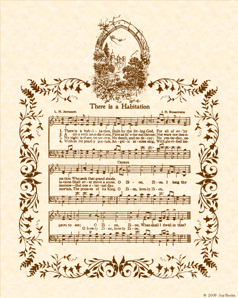 There Is A Habitation - Christian Heritage Hymn, Sheet Music, Vintage Style, Natural Parchment, Sepia Brown Ink, 8x10 art print ready to frame, Vintage Verses