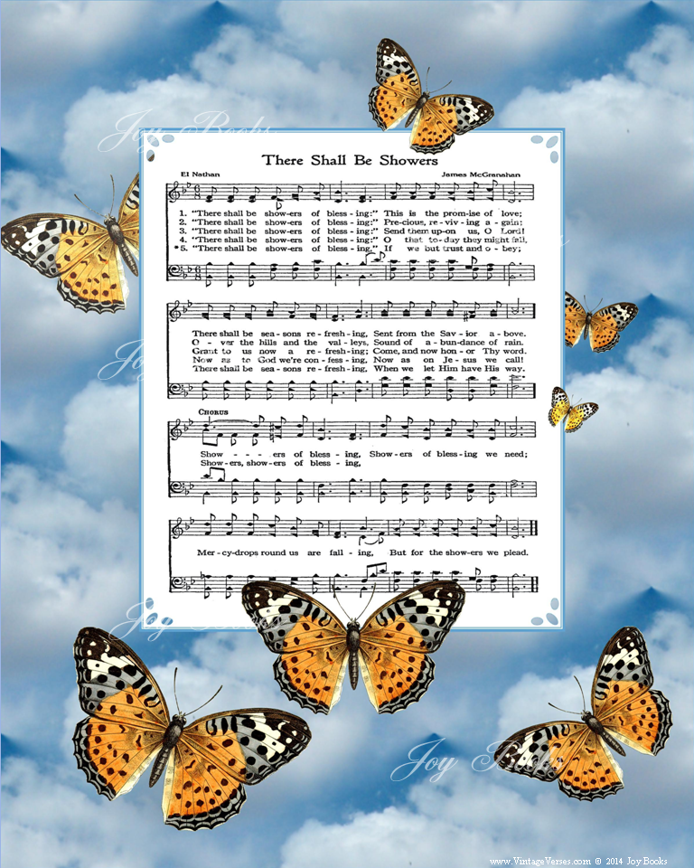 There Shall Be Showers Of Blessing - Christian Heritage Hymn, Sheet Music, Blue Sky and Butterflies, 8x10 art print ready to frame, Vintage Verses