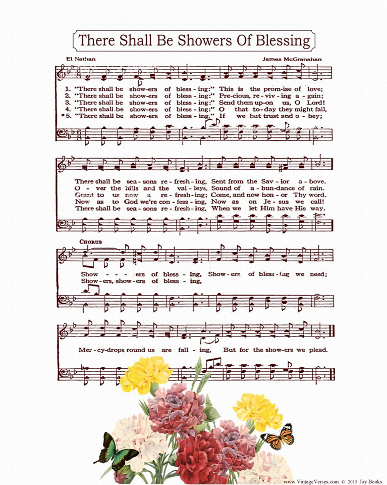 There Shall Be Showers Of Blessing - Christian Heritage Hymn, Sheet Music, Vintage Style, White Linen Paper, Burgundy Ink, Colorful Carnations and Butterflies, 8x10 art print ready to frame, Vintage Verses