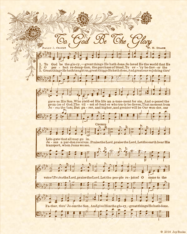 To God Be The Glory a.k.a. Praise The Lord! Praise the Lord! - Christian Heritage Hymn, Sheet Music, Vintage Style, Natural Parchment, Sepia Brown Ink, 8x10 art print ready to frame, Vintage Verses