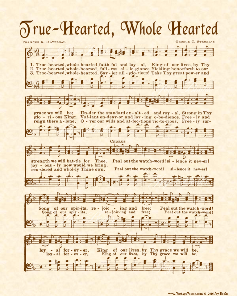 True Hearted, Whole Hearted - Christian Heritage Hymn, Sheet Music, Vintage Style, Natural Parchment, Sepia Brown Ink, 8x10 art print ready to frame, Vintage Verses