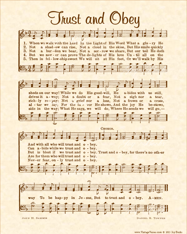 Trust and Obey - Christian Heritage Hymn, Sheet Music, Vintage Style, Natural Parchment, Sepia Brown Ink, 8x10 art print ready to frame, Vintage Verses