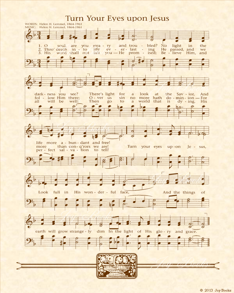 Turn Your Eyes Upone Jesus - Christian Heritage Hymn, Sheet Music, Vintage Style, Natural Parchment, Sepia Brown Ink, 8x10 art print ready to frame, Vintage Verses
